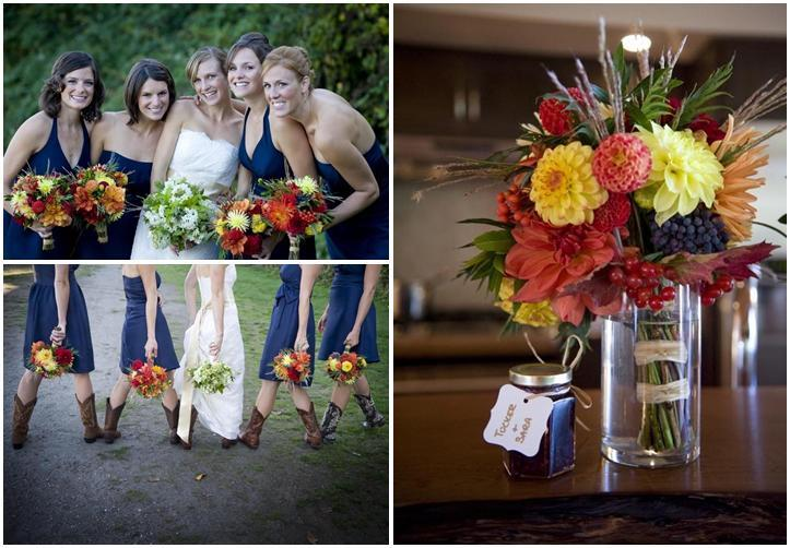Willa-kveta-navy-blue-bridesmaids-dresses-colorful-bouquets-floral-centerpieces-red-yellow-green-blueberry-orange-hurricane-vase-cowboy-boots.full