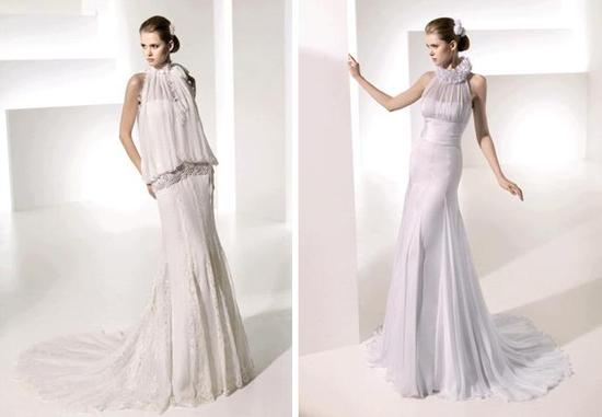 Modern sheath style wedding dresses- drop waist with silver embroidery, ruffle details
