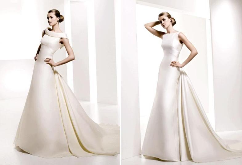 modest a-line wedding dresses, reminiscent of Audrey Hepburn