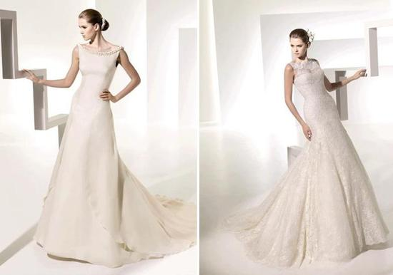 Modest and classic ivory wedding dresses from the Manuel Mota collection from Pronovias