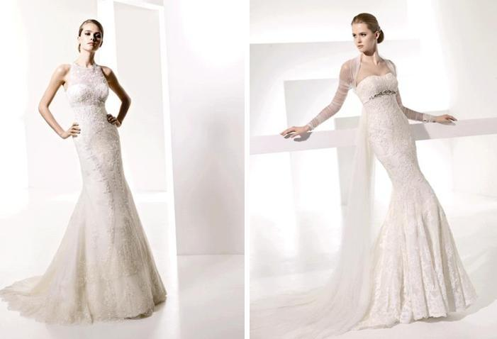 Gorgeous ivory lace fitted wedding dresses from the Manuel Mota Spring 2010 collection