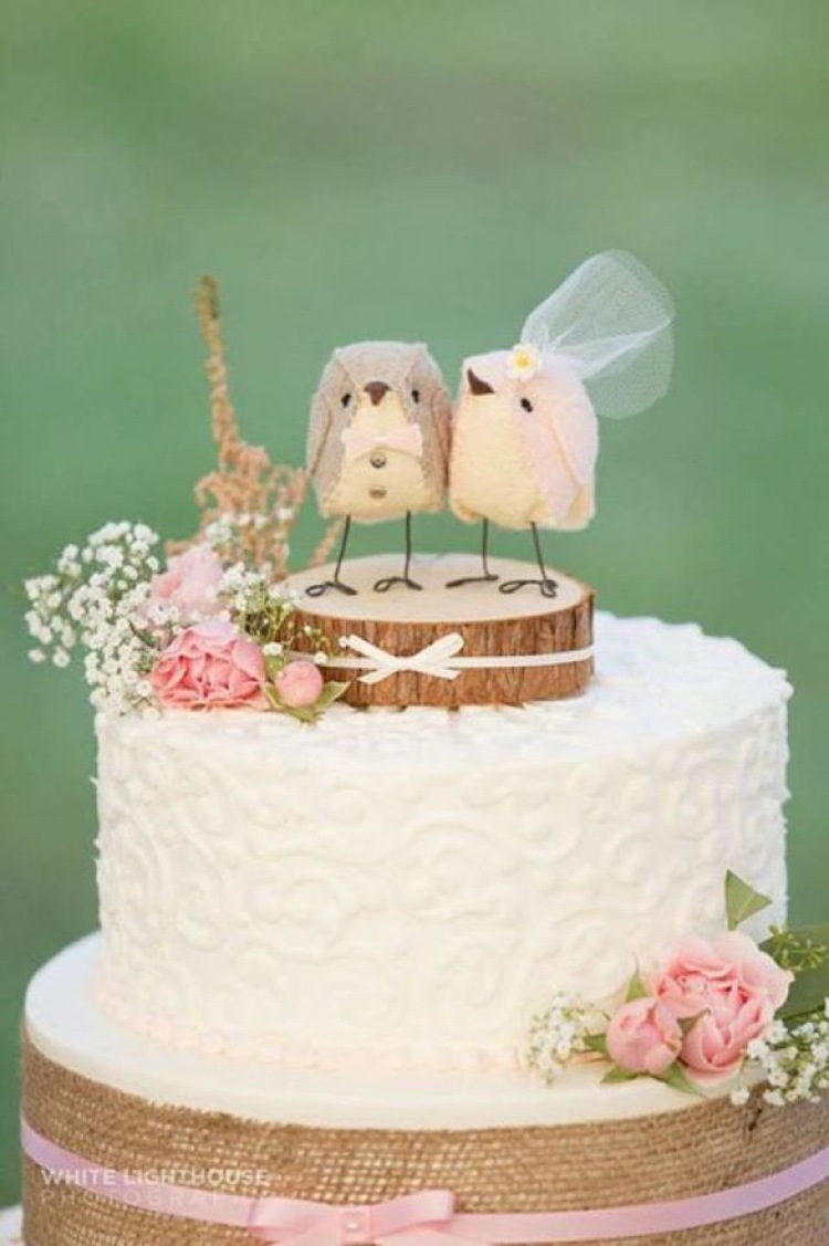 wedding cake with love birds bird cake topper 26923