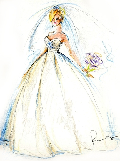 Beautiful illustration of bride in white ball gown stapless wedding dress and full veil