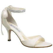 This open-toed white bridal shoe is elegant and sexy.