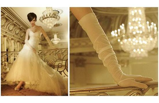 Modern yet classic long white sheer gloves for your wedding day look