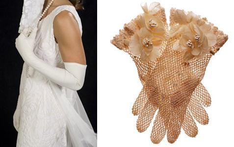 Get glove chic for your wedding with high white gloves, or short, sheer copper gloves!