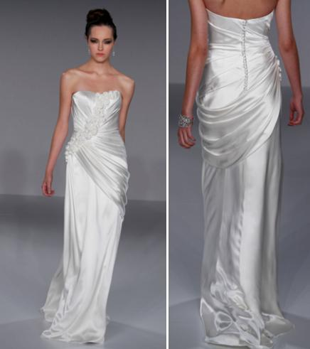 Sheath style white strapless wedding dress with draping and floral applique