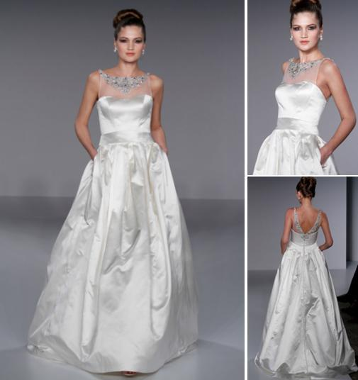 Stunning white ball gown wedding dress with high waist and sheer top, jeweled embroidery