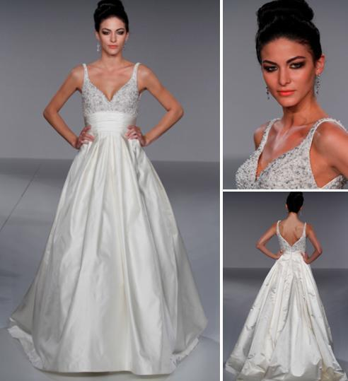 Stunning deep v neck bodice (with jeweled beading) and full ball gown skirt wedding dress from Prisc