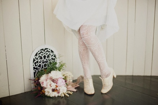 White tights and Bouquet