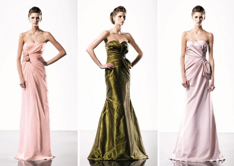Stylish and sassy full-length bridesmaids dresses in vibrant, bold colors- peachy pink, olive green,
