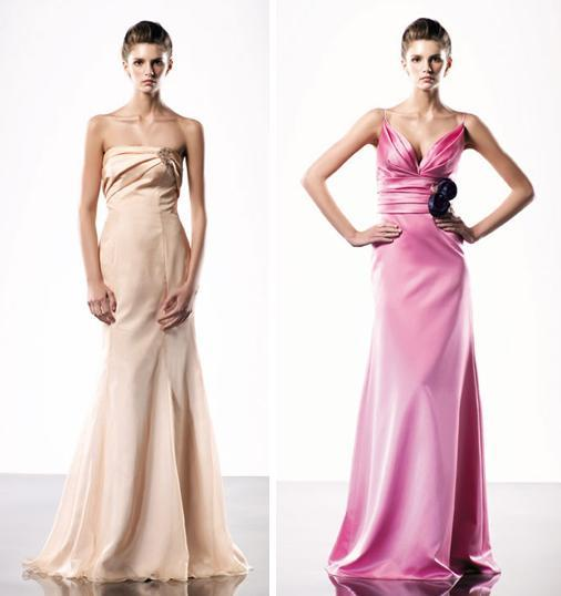 Full length bridesmaids dresses in light peach and hot pink