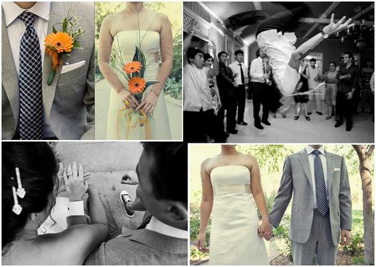Casual outdoor wedding in California- bride and groom with orange flowers; wedding party gets down o
