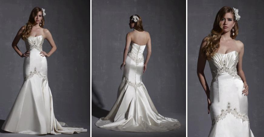 Drop Waist Strapless Ivory Wedding Dress With Silver Embroidered Bands