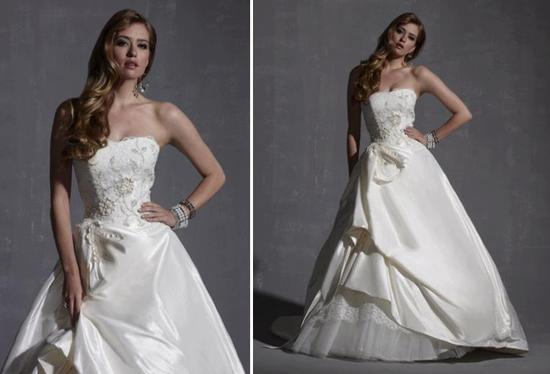 Strapless ivory wedding dress with floral-embroidered bodice and tulle skirt