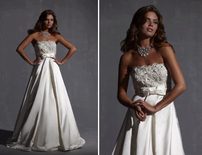 Strapless champagne a-line wedding dress with small bow at the empire waist