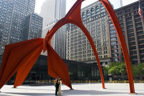 The Flamingo art sculpture in the courtyard of Chicago's Federal Center