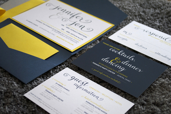 Custom navy, yellow and grey wedding pocket invitations