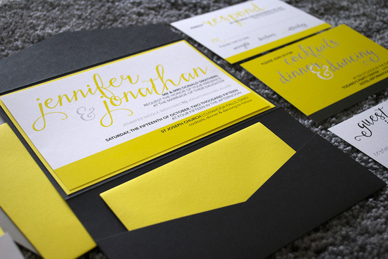 Custom black, yellow and grey wedding pocket invitations