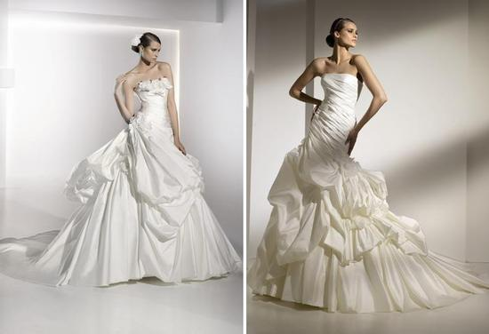 Dramatic full ball gown wedding dresses with tiered skirts, floral appliques and beautiful strapless