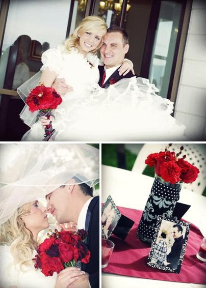 Polka-dot-damask-red-white-black-chic-modern-wedding-beautiful-bold-bridal-bouquet-veil-welcome-escort-table-bride-and-groom.full