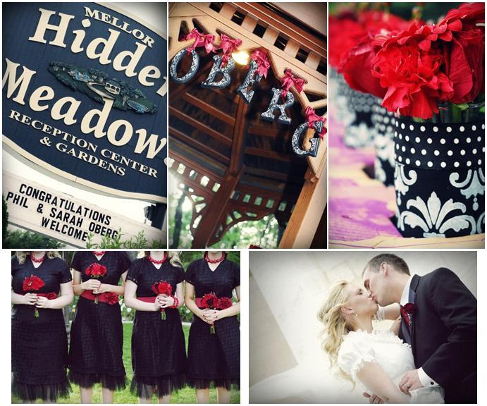 Wedding detail photos from this chic and modern black, white damask and dark red wedding in Utah