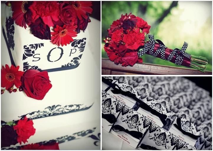 White Three Tier Wedding Cake With Black Damask And Monogram Dark Red Roses