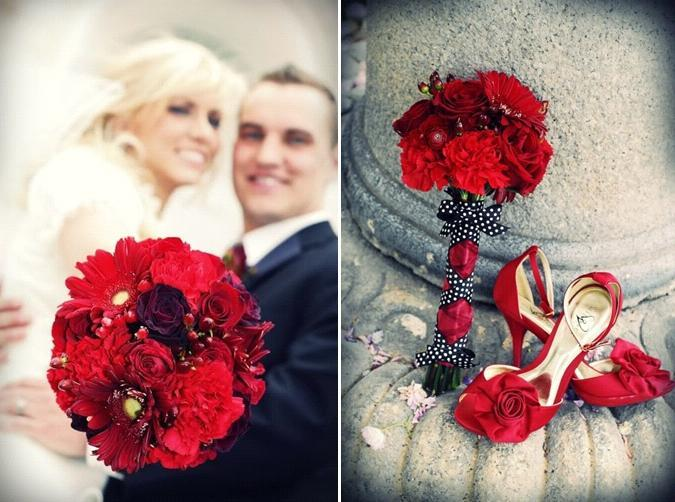 Gorgeous dark red bridal bouquet and heels, beautiful bride in white wedding dress