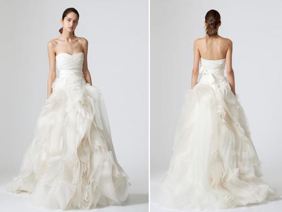 Beautiful strapless ivory Vera Wang wedding dress with full tulle and fabric ball skirt