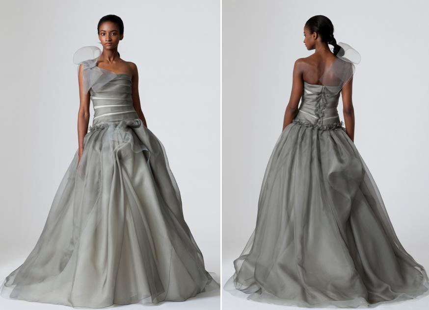 Pewter Vera Wang Wedding Dress With Full A Line Skirt