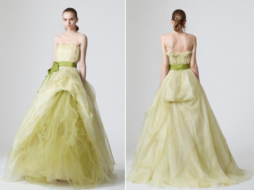 Unique Light Pea Green Vera Wedding Dress With Blod Tulle Skirt And Ribbon At Natural Waist