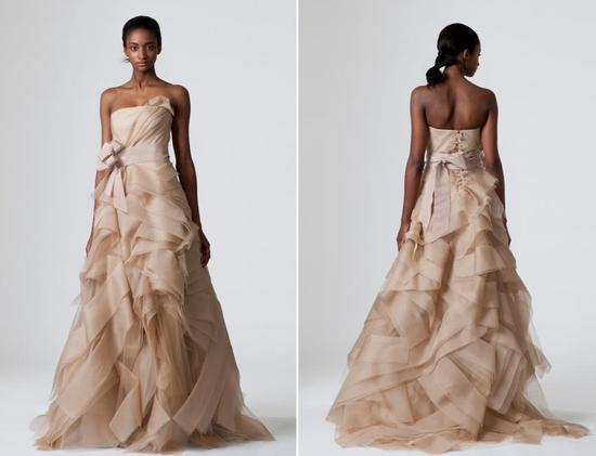 Stunning cocoa Vera Wang wedding dress with fitted corset bodice and full a-line skirt with fabric o