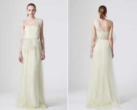 Simple sheeth wedding dress from Vera Wang with one shoulder made from sheer tulle