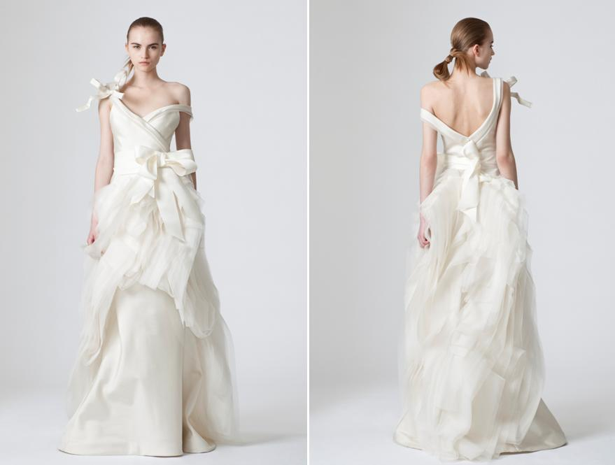 Avant Garde Vera Wang White Wedding Dress With Assymetrical