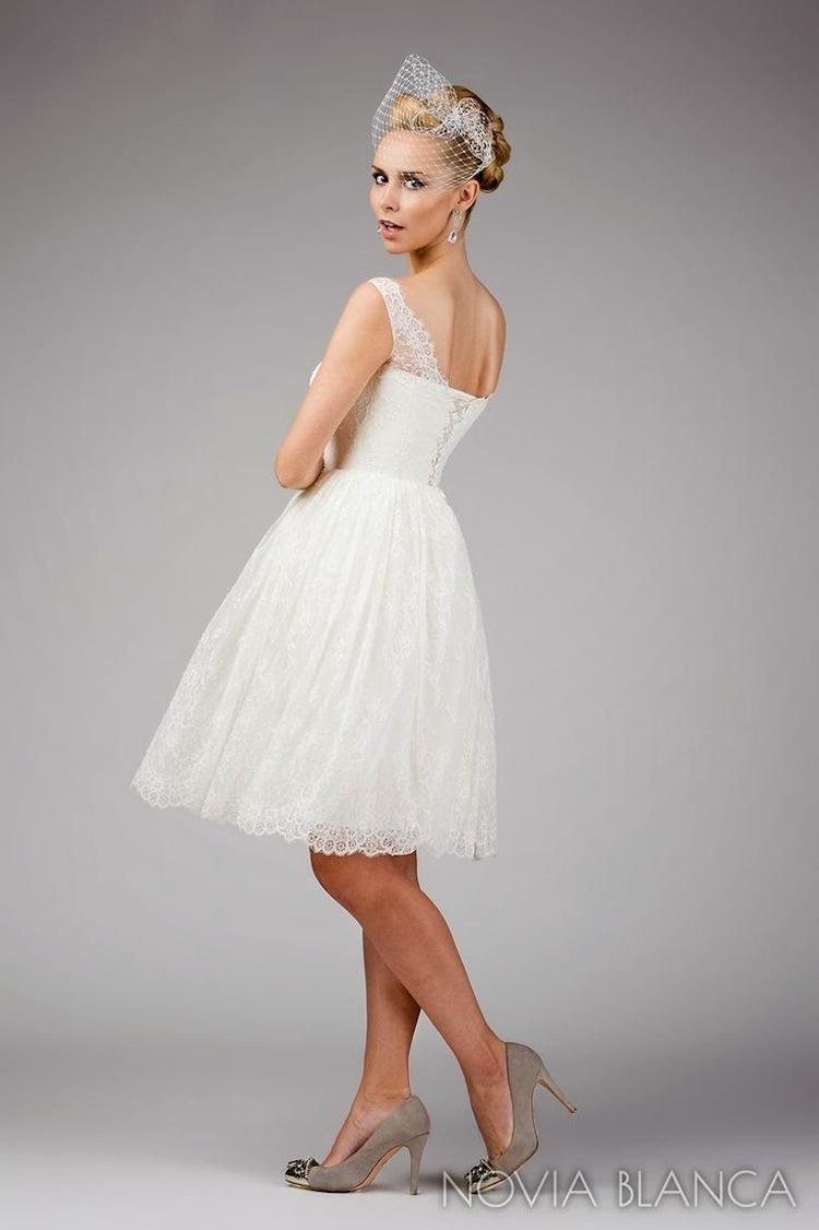 Short Wedding Dress With Birdcage Veil