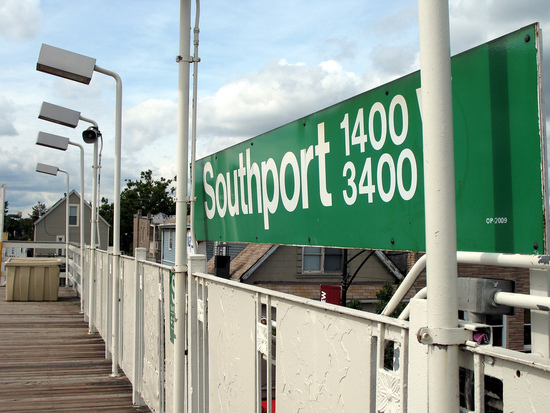 The Southport el station in chicago, home to great Chicago shopping.