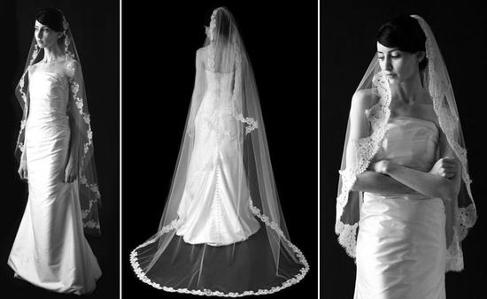 Traditional netting and alencon lace bridal veils by Sara Gabriel