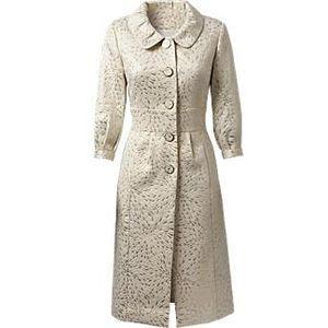 Ivory and champagne Jacquard coat dress with oversized buttons