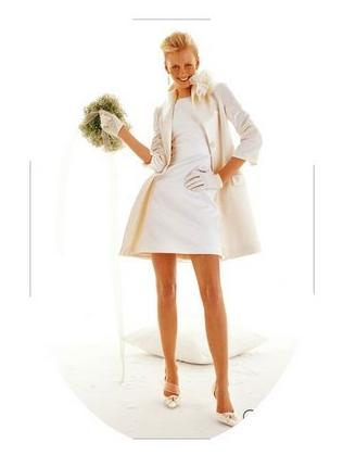 Cute and chic above the knee ivory coat dress, worn over a boat neck wedding ceremony dress