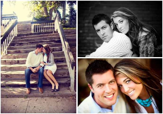 Beautiful-young-bride-and-groom-engagement-session-grey-white-gold-turquoise-sit-outside-on-wood-stairs.original