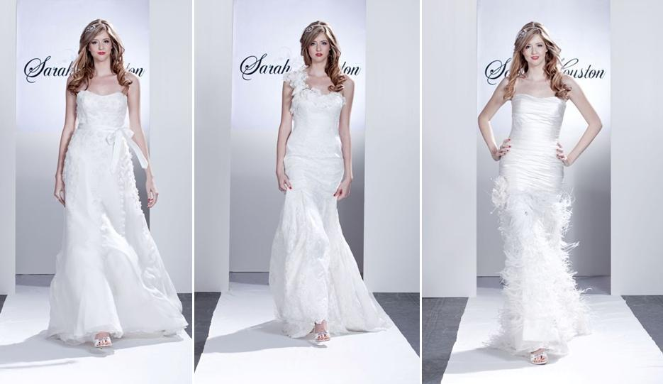 White wedding dresses adorned with floral appliques feathers and