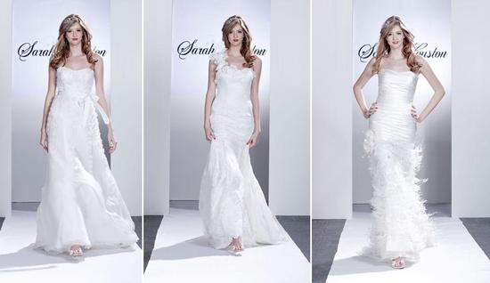 White wedding dresses adorned with floral appliques, feathers and satin ribbon sash