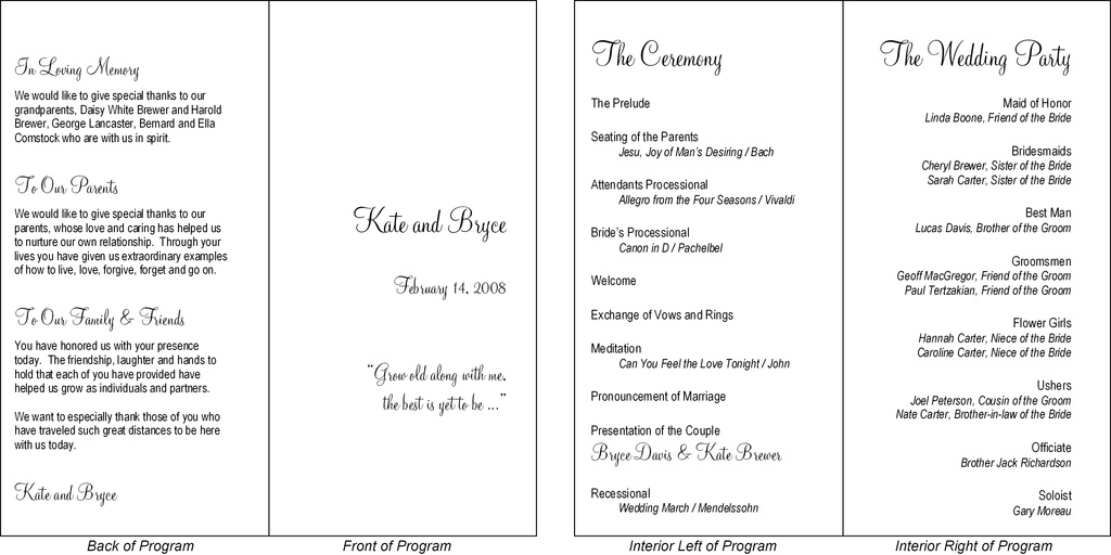is a typical wedding program presented in a simple fold over format.