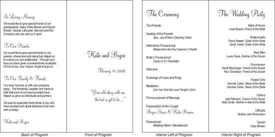 This is a typical wedding program presented in a simple fold over format.