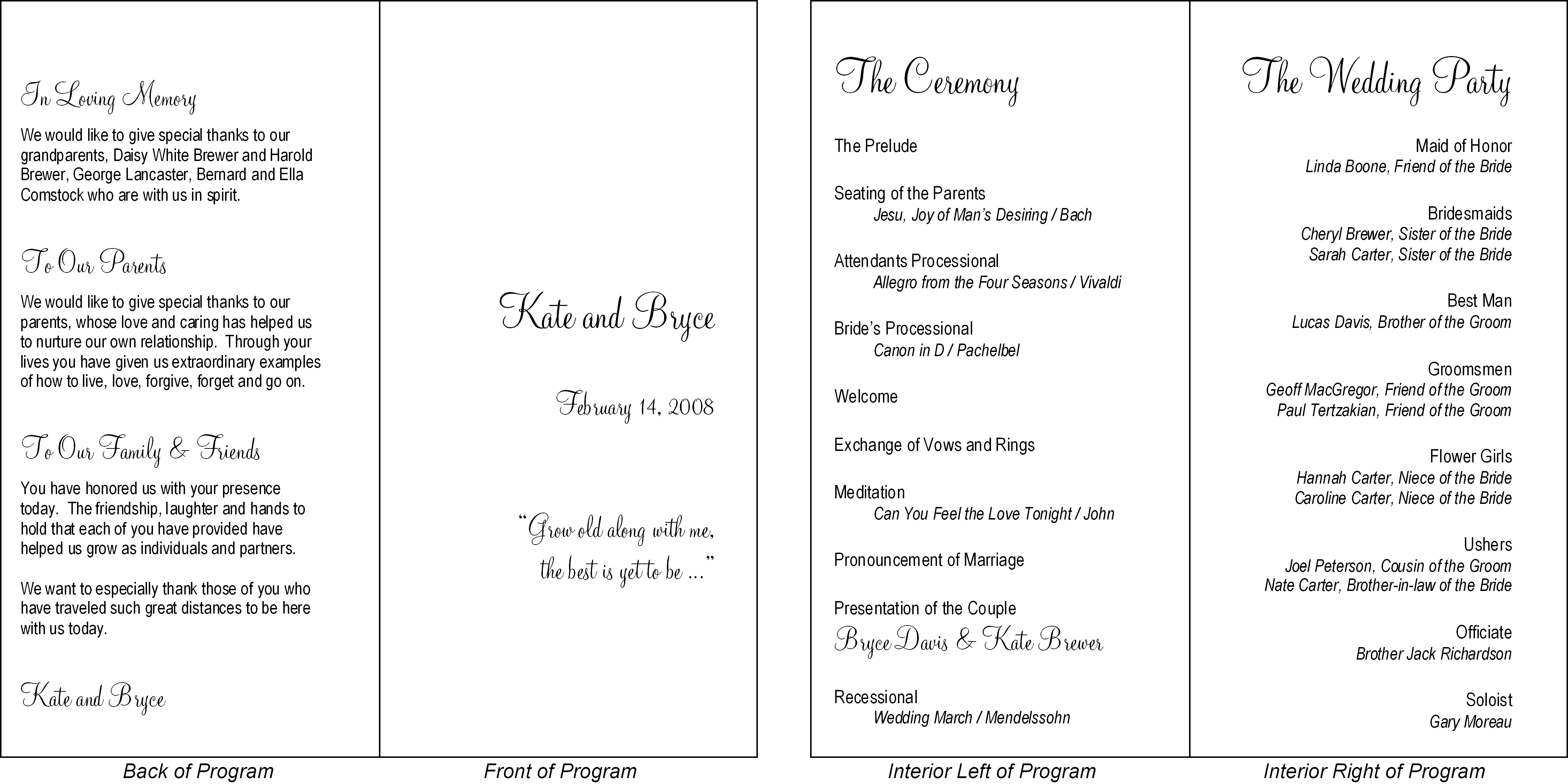 wedding reception formats
