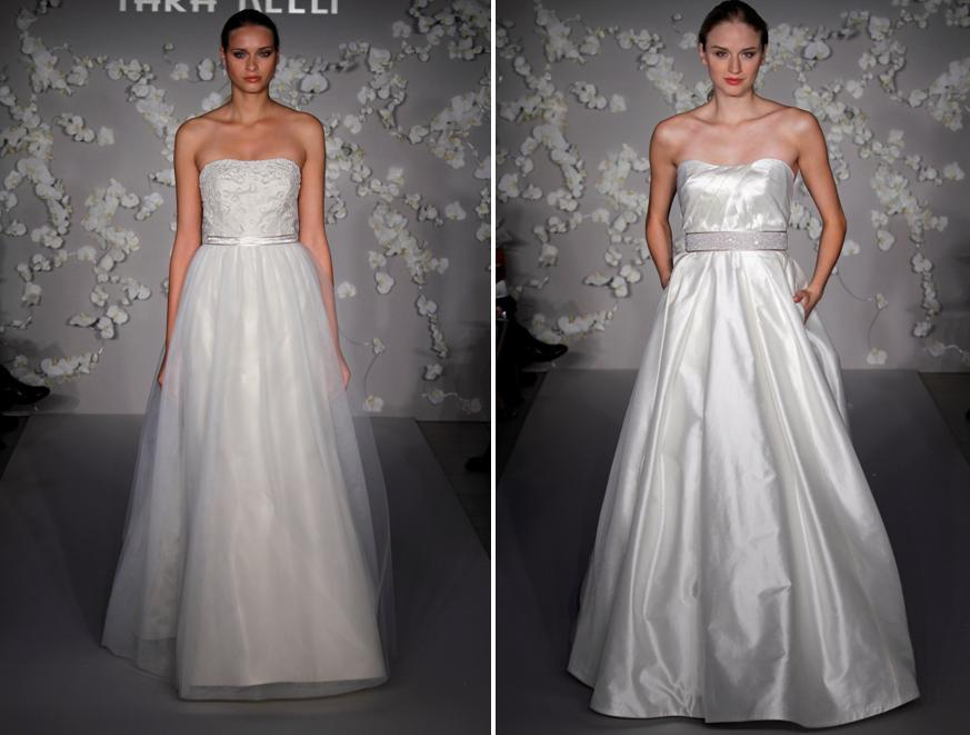 Ivory modern a-line and ball gown wedding dresses from Tara Keely, complete with pockets!