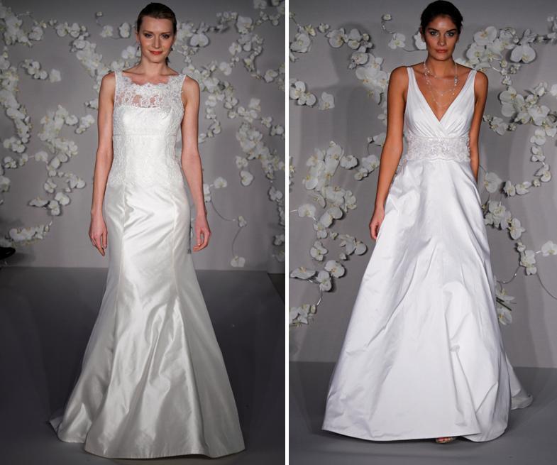 Beautiful Ivory Silk Shantung Trumpet Wedding Dress With