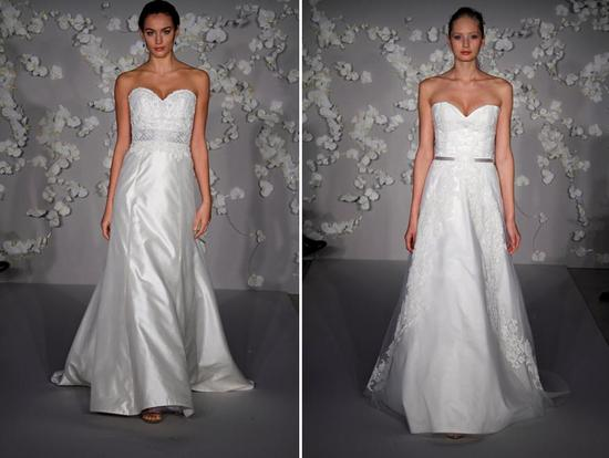 Ivory modified a-line wedding dress with sweep train, organza ribbon and Alencon lace