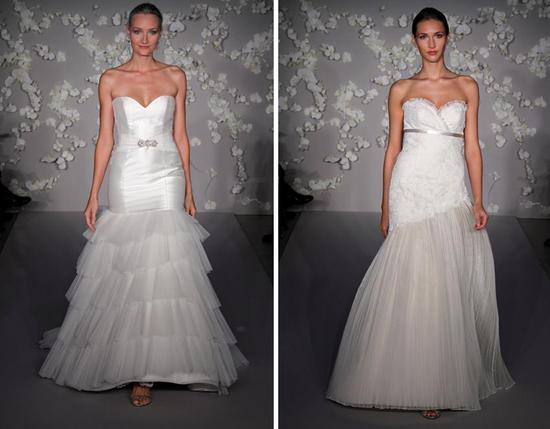 Ivory a-line and fit and flare Tara Keely wedding dresses with deep sweetheart necklines