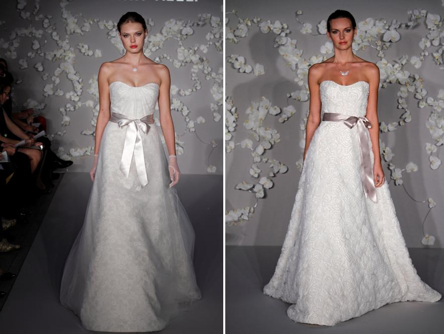 Ivory Modern A Line And Ball Gown Wedding Dresses Strapless Bodice With Satin Ribbons At